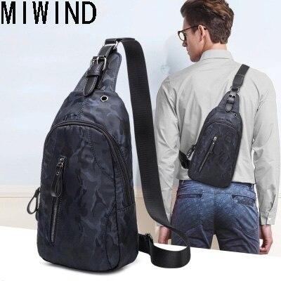 MIWIND Men Chest Bag Pack Single Shoulder Strap Back Bag Casual Travel Male Retro Shoulder Bag TQH1294