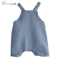 Baby Boy Girl Cotton&Linen   Romper   Solid Color Suspender Overalls Infant Jumpsuit 6-20M Baby Clothes Blue Beige new