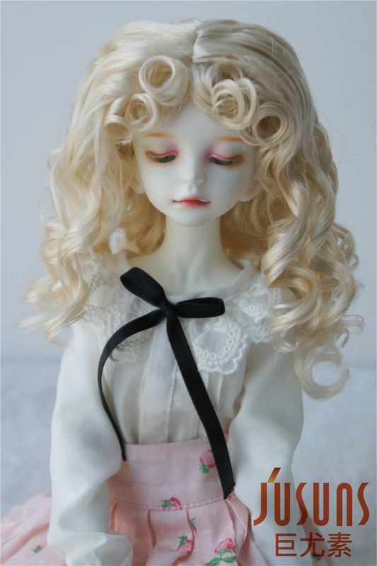 JD276 MSD BJD synthetic mohair wigs  1/4 Princess Long Curly  doll hair 1 3 1 4 bjd wigs hot sell bjd sd short curly wig for diy dollfie mohair like