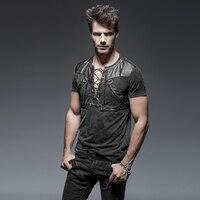 Steampunk Men's T shirt Gothic Rock Heavy Metal Black short Sleeve Tops