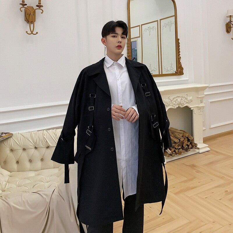 Hommes haute rue Punk Hip Hop ruban lâche longue Trench manteau printemps automne mâle Streetwear mode coupe vent veste - 6