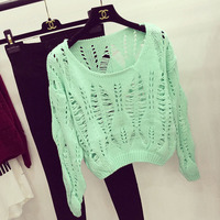 Women Crop Sweater 2014 Fall Winter Casual Hollow Out Crochet Wool Short Sweater Drop Shoulder Long