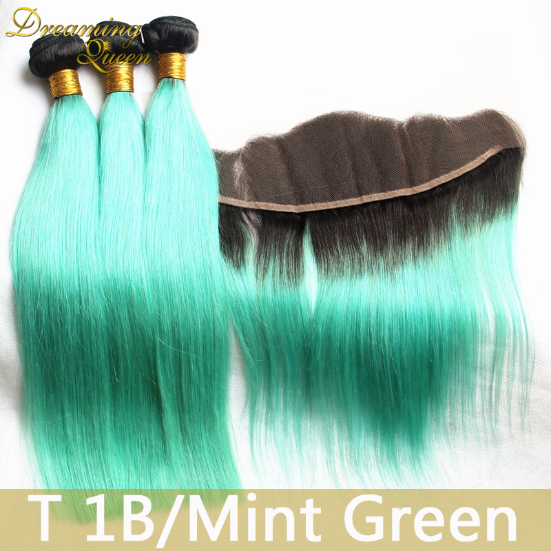 Straight 1b Mint Green Ombre Malaysian Virgin Human Hair Extensions