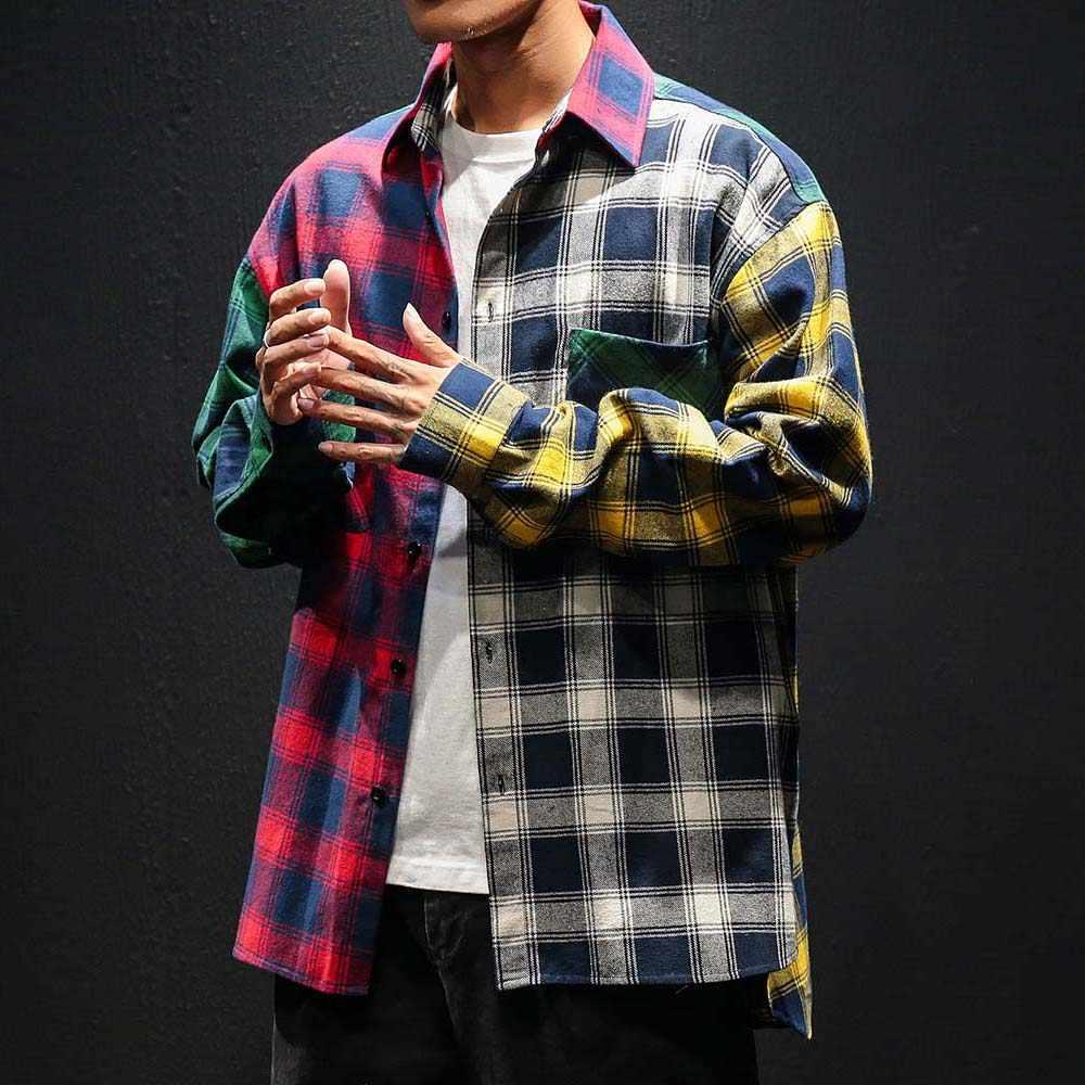 2020 ヴィンテージチェック柄カラーブロックシャツ男性のファッション長袖パッチワークタータンシャツメンズ男性ヒップホップカジュアル都市服