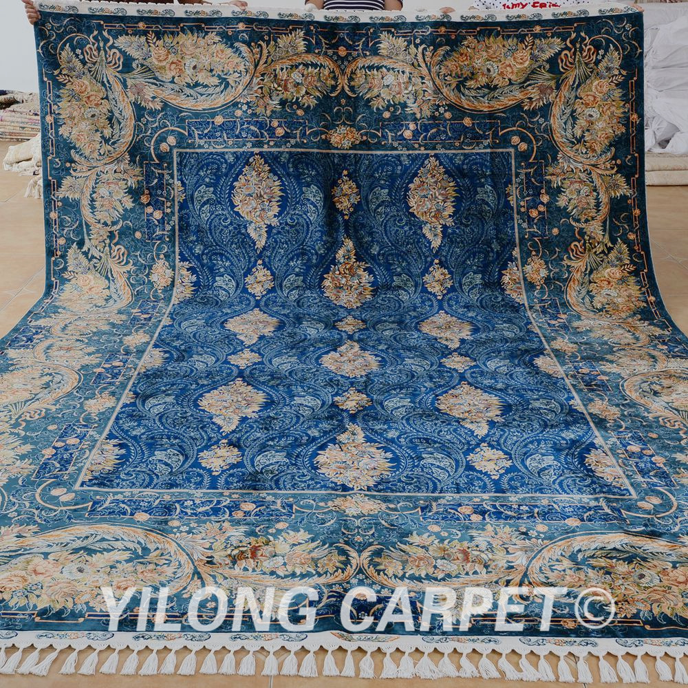Antique Turkish Silk Rug: Yilong 8.6'x11.6' Hereke Oriental Silk Rug Ocean Blue