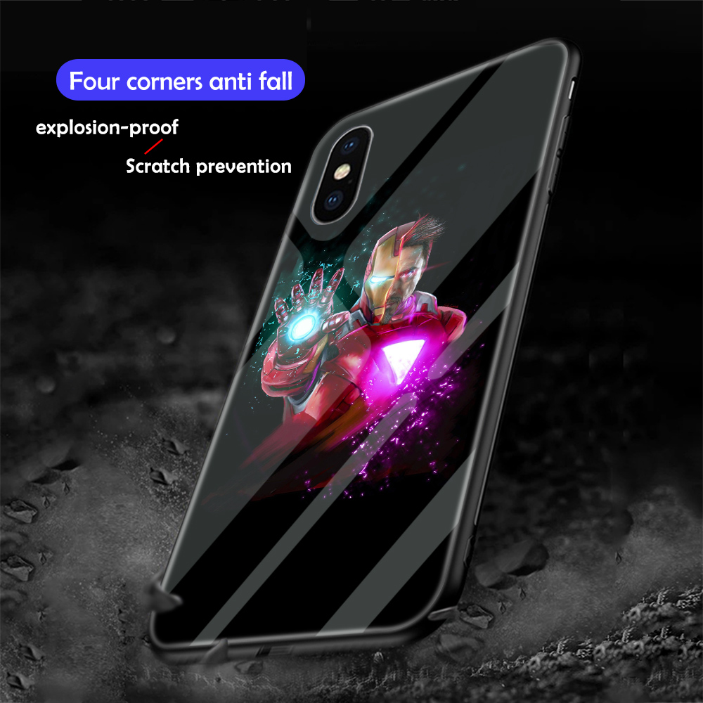 Image 5 - ciciber Marvel Iron Man Luminous Glass Case for iPhone 7 8 6 6S Plus Back Shell Cover for iPhone 11 Pro Max X XR XS Max Coque-in Fitted Cases from Cellphones & Telecommunications