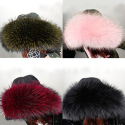 2017 Winter Korea Big Real Hooded Furs 100%Real Raccoon Color fur Collar High Quality sitka kerst