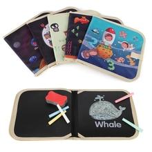 лучшая цена Baby Drawing Toy Portable Soft Chalk Board Drawing Book Animal Marine Life Coloring Book DIY Blackboard Painting Drawing Board