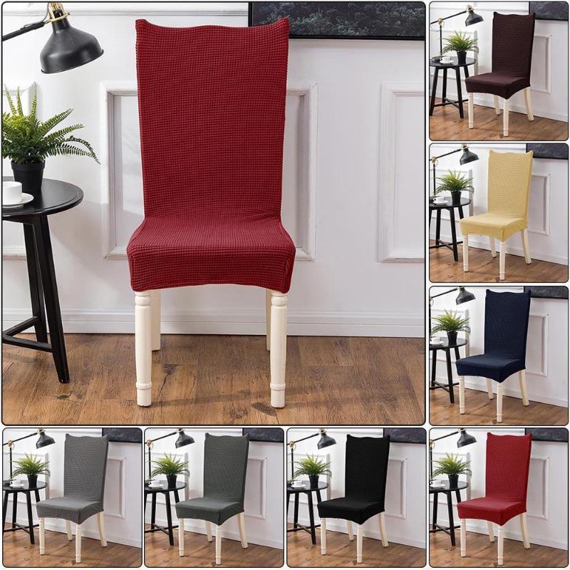 Spandex Elastic Velvet Thick Solid Color Dining Chair Cover Hotel Anti-dirty Removable Party Office Stretch Seat Protective Case