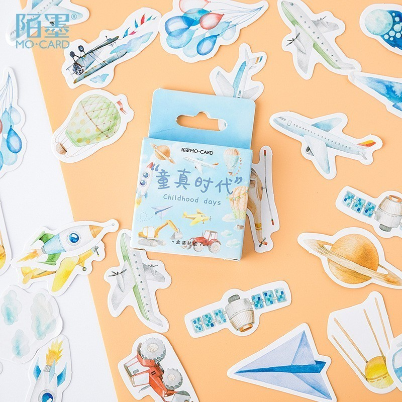 46PCS/box New Childhood Paper Lable Sealing Stickers Crafts Scrapbooking Decorative Lifelog DIY Stationery Sticker