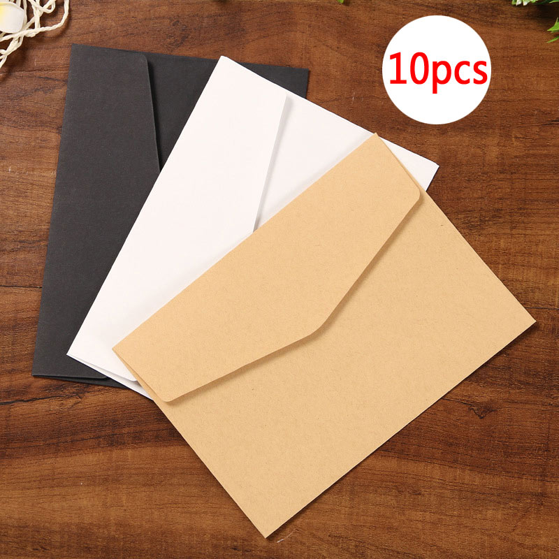Delvtch 10pcs/Set Black White Craft Paper Envelopes Vintage Retro Style Envelope Office School Holiday Card Scrapbooking Gift