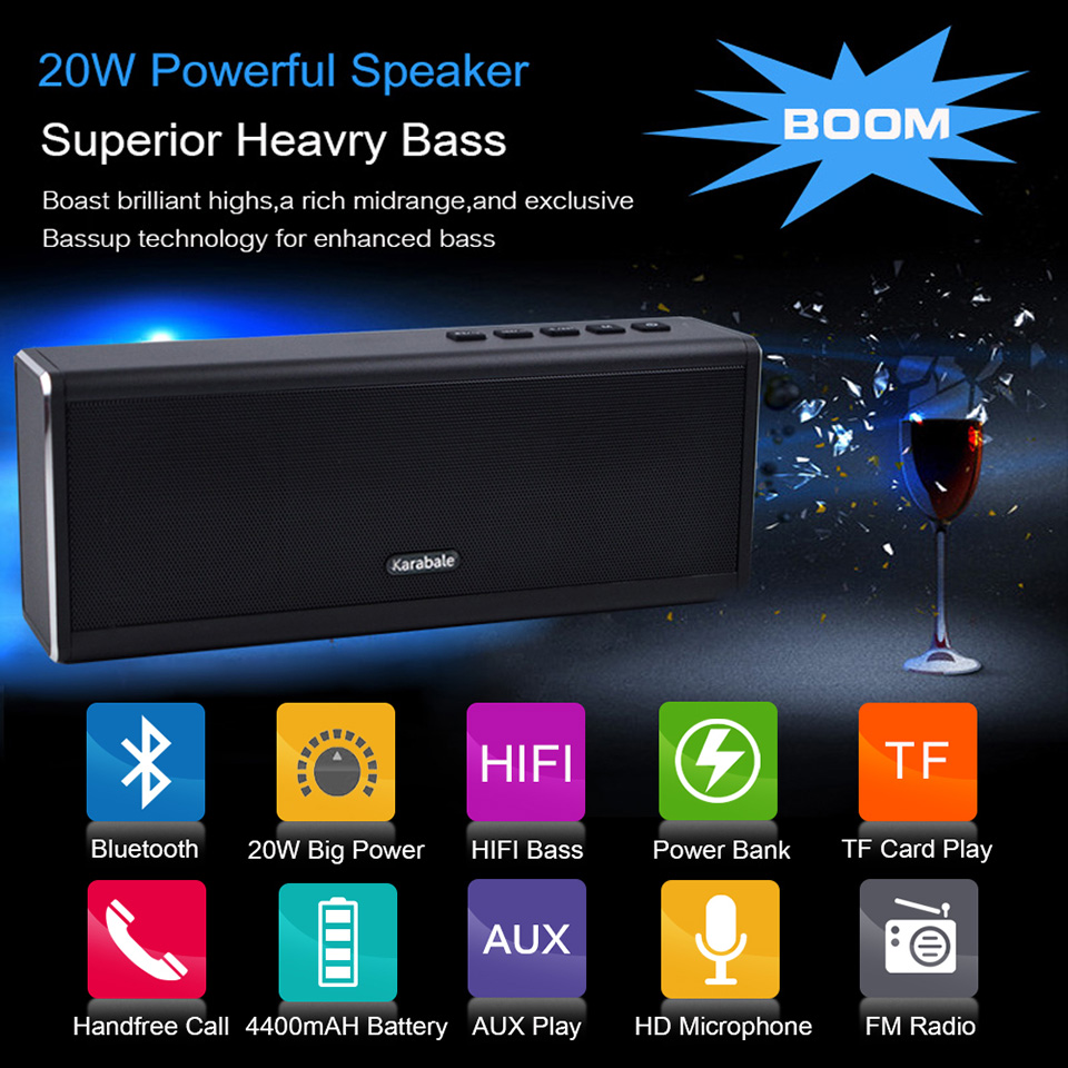 20W Metal Bluetooth Speaker 4400mAH Power Bank Portable Super Bass Wireless Desktop Car HIFI Speaker Loudspeaker Handfree MIC FM