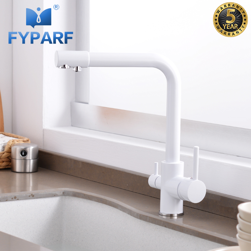 FYPARF White Painting Kitchen Sink Faucet Mixer 360 Degree Rotation Water Purification Tap Brass Dual Handle Drinking Water Tap