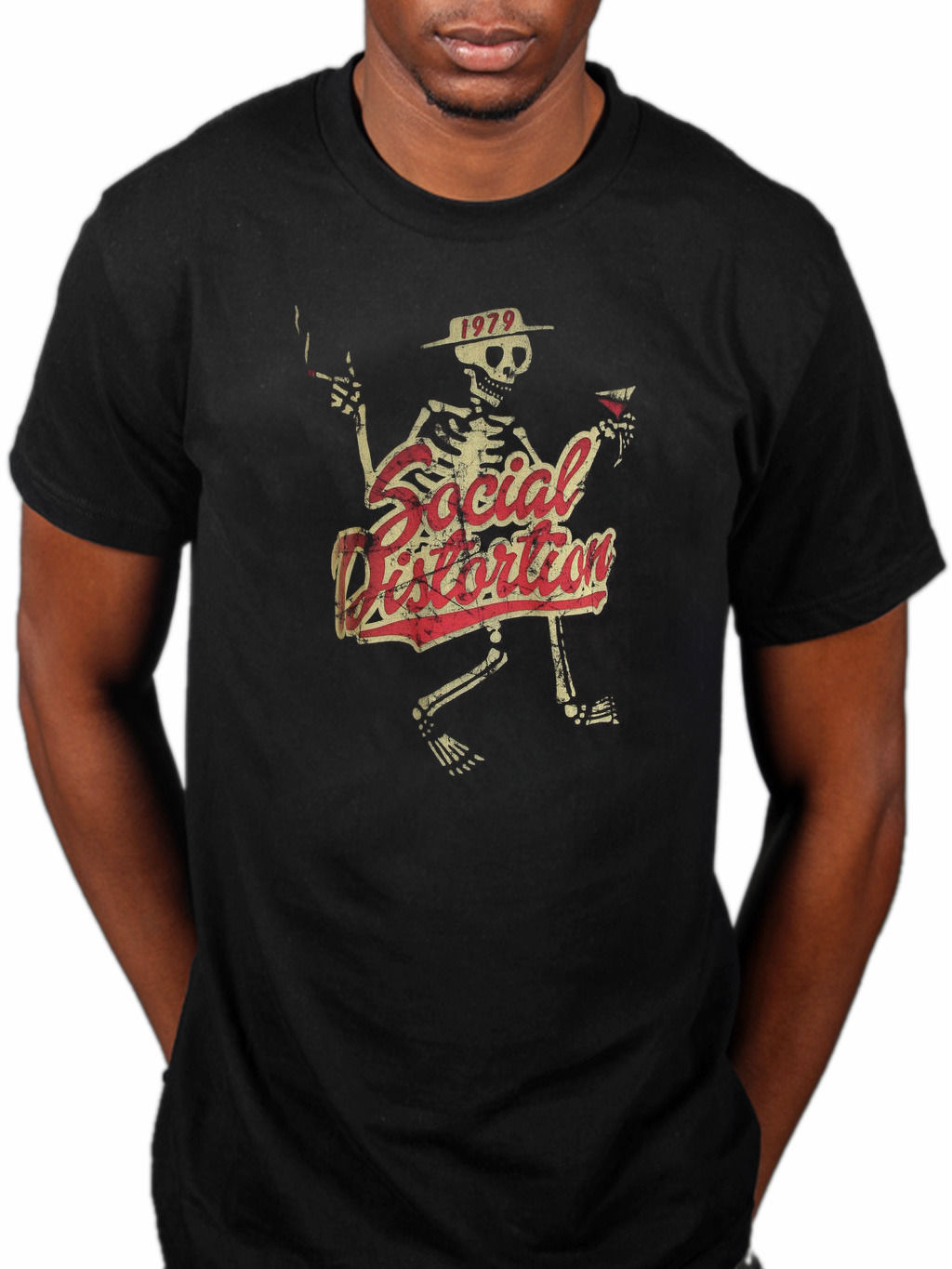 Official social distortion vintage t shirt party skeleton for Machine to print shirts