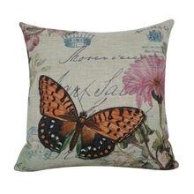 LINKWELL 45x45cm Vintage mariposa marrón con flor Rosa corona arpillera decorativa sillón fundas para cojines de asiento cojín funda de almohada