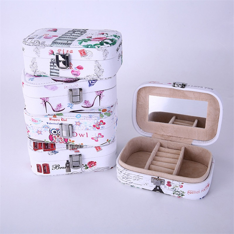 Earrings accessories Leather material Storage Box Jewelry Box earring Vanity mirror printing Portable Multi-grid design