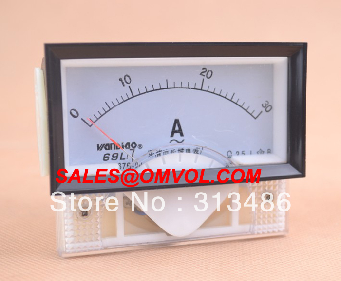 85L1 pl/ástico AC 0-30A rectangular anal/ógico amper/ímetro de gran calibre