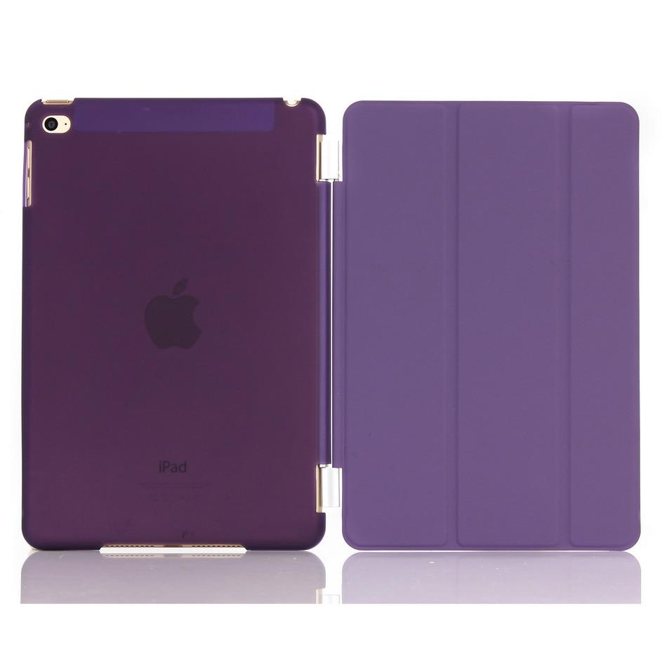 Quanlity elevado para iPad mini4 dobrável Tri caso inteligente Mini 4 fique Wake Up sono magro folio tampa Flip com semi limpar rígido de volta