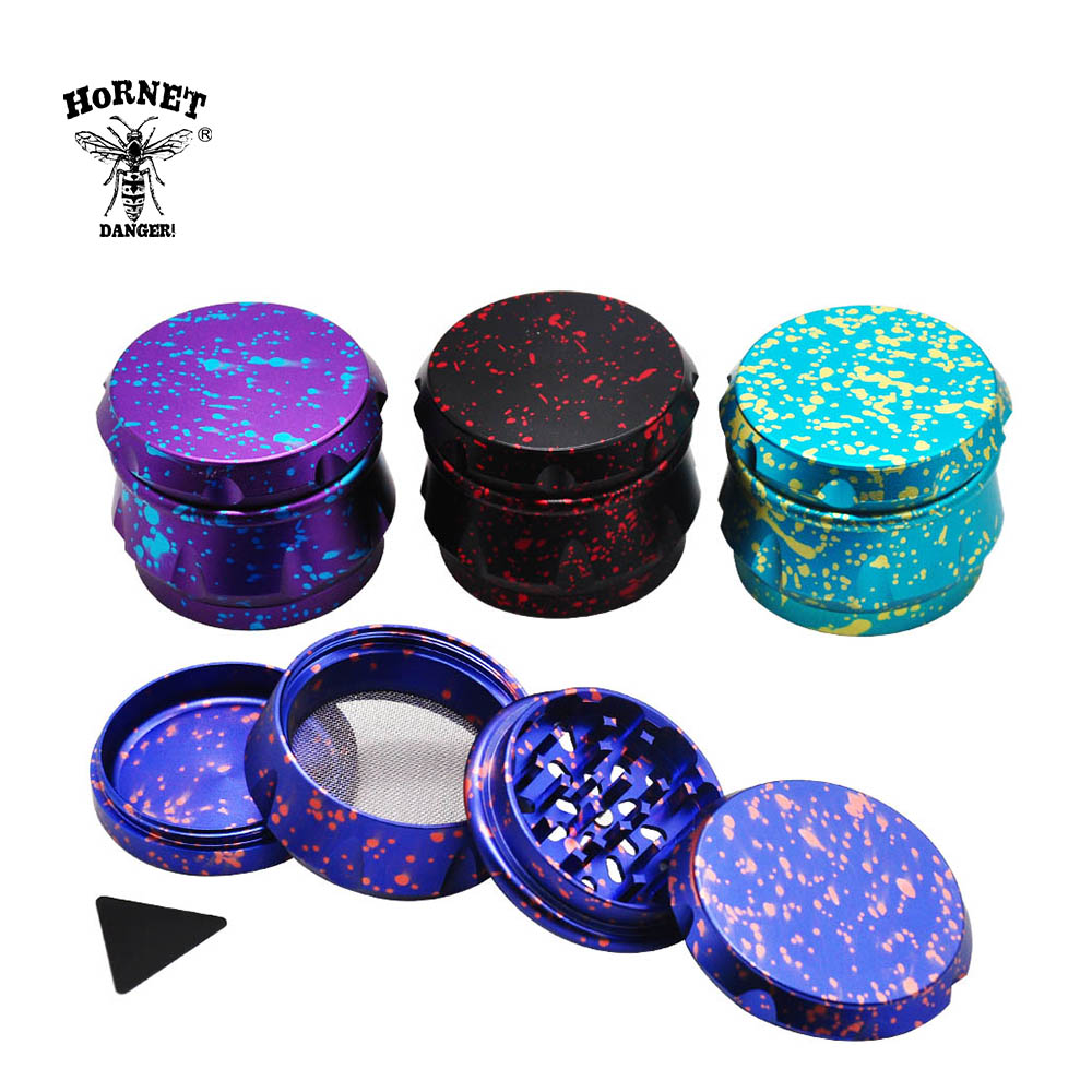 Portable Mill Crusher for Dry Herb Tobacco Spice Lightning Design Grinders Metal Lid 4 Piece Aluminum Grinder with Sifter and Magnetic Top 2.5 Inches Blue 63mm