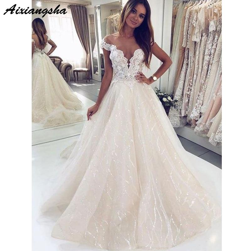 Sparkly Ball Gown Wedding Dresses 2019 Off The Shoulder V Neck Ivory Sequin Lace Long Wedding Gown Bridal Dress Vestido De Noiva
