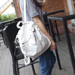 Image 2 - Anti Theft Backpack Women Casual Large Anti theft Backpacks for Travel White Zipper Soft PU Leather Antitheft Backpack Female