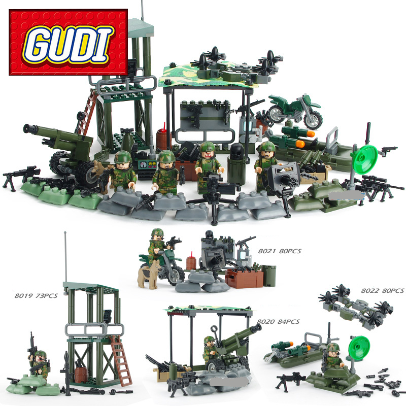 GUDI 8009 4in1 Military Firewire Soldier War Weapon Cannon Dog Building Blocks Sets Kids Bricks SWAT Classic Toys For Children gudi new toys educational assembled military war weapon vehicle tank plane 8 in 1 plastic building blocks toys for children