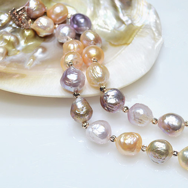 Luxury Brand name Really  natural Metallic luster Big pearl 12-13mm Baroque Irregular Pearl Necklace for women Free shipping