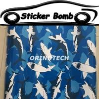 Car Styling Shark Fish Sticker Bomb Vinyl Wrap Shark Sticker Bombing Graffiti Vinyl Sticker For Car Boat Shark Wrapping Covers