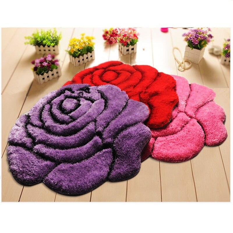 Vivid Color 3D Flower Design Bedroom Carpet Bath Mat Non ...