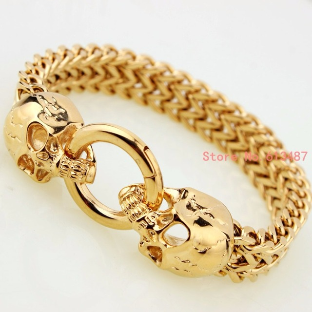 Whole New Fashion Vintage Jewelry Gold Stainless Steel Skull Bracelets Charm Chain Men Cool Gift