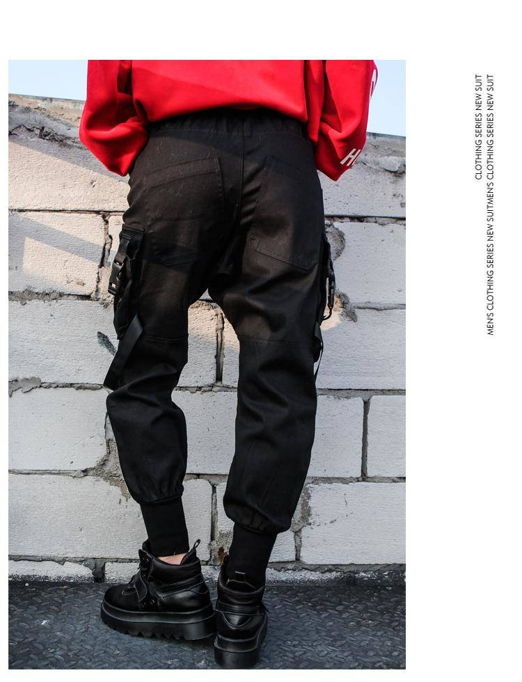 Black High Waist Cargo Pants Women Pockets Patchwork Casual Funny Loose Streetwear Pencil Pants Fashion Hip Hop Women Trousers 12