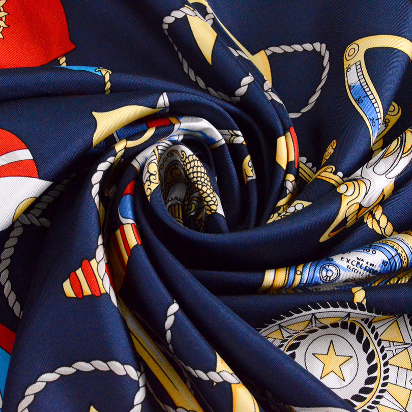 [BYSIFA] Navy Blue Wanita Merek Desain Syal Selendang Sutra Wraps - Aksesori pakaian - Foto 5