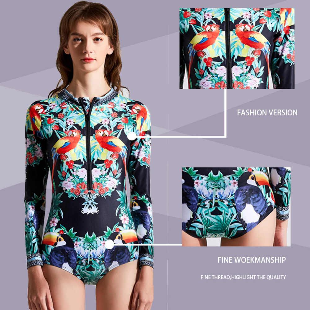 Baru Fashion Plus 2XL Baju Renang Wanita Baju Renang Wanita Lengan Panjang Baju Renang Renang Baju Renang Diving Piece Water Lycra Surf #5