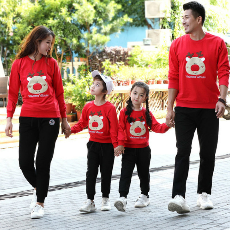 Christmas Household Matching Outfits Dad Children Cartoon Sweater T-Shirt Autumn Cotton Mother And Me Garments X-Mas Household Look Clothes