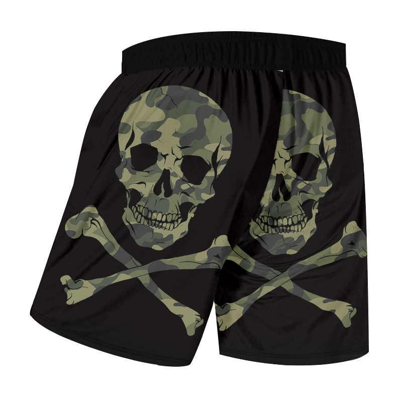 OGKB Man 3D Printed Camouflage Skull Streetwear Summer Beach Shorts Best Selling Large Size Men's Black Green Stitching 6XL