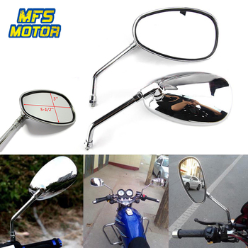 10mm Universal Oval Motorcycle Replacement Parts Rear View Mirrors For Harley Suzuki Kawasaki Chopper Cruiser Custom CHROME Мотоцикл