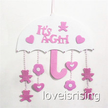 """Cute Pink """"It's A Girl"""" Birthday Party Hanging Decoration"""