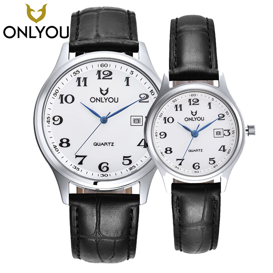 ONLYOU Fashion High Quality Black Brown Leather Band Steel Shell Men Quartz Watch Retro Woman Wristwatches Sports Couple Watches