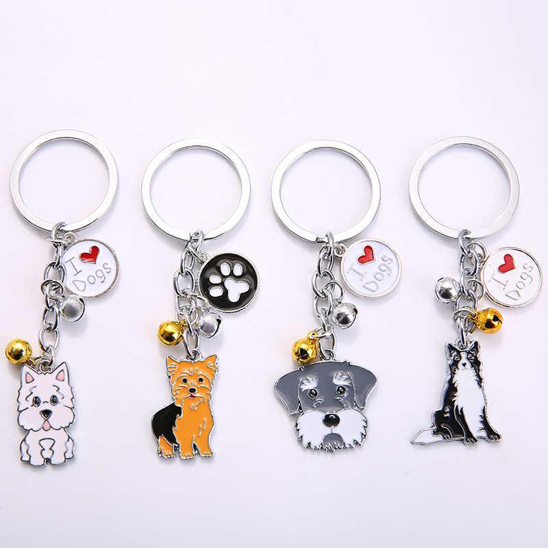2019 แฟชั่นเครื่องประดับ Charm สัตว์คู่พวงกุญแจสัตว์เลี้ยงสุนัข Key แหวนจี้สัตว์โลหะระฆังของขวัญสำหรับแฟนแฟนแฟน