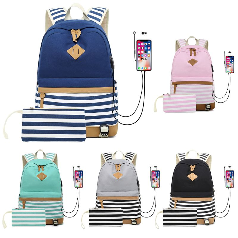 2PCS Canvas College Student Bags Laptop USB Backpack High School Rucksack With Phone Bag Striped Print for Men Women in Backpacks from Luggage Bags