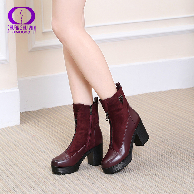 09d35df2f2f42 Red Square Thick High Heels Platform Ankle Boots Spring Short Fashion Soft  Leather Suede Boots Platform Women Boots Shoes