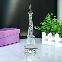 Popular New Home Decor Crystal Glass Eiffel Tower Model Art Crafts Creative Gifts Travel Souvenir