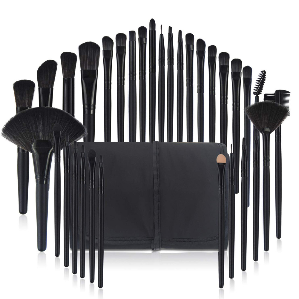 32 Pcs Soft Makeup Brushes Set Beauty Brushes Gift Cosmetic Tools Kit with Pouch JIU55 in Eye Shadow Applicator from Beauty Health