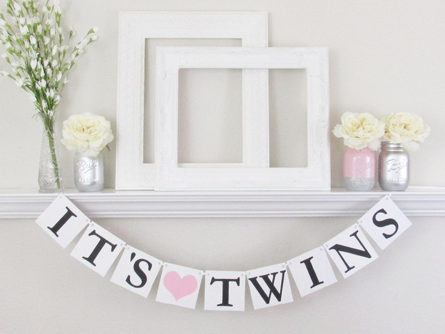 1 x it s twins banner baby shower twins baby boy girl sign garland