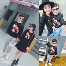 Har 2016 autumn male clothing girls flower long-sleeve sweatshirt clothes for mother and son family fashion family set skirt