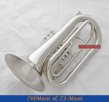 Professional Silver Nickel Marching Baritone Monel Piston Bb Key horn With Case