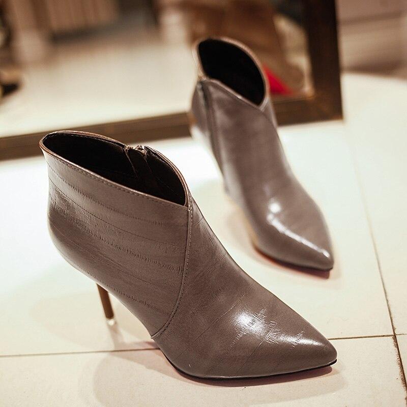 Feiyitu Pour Talon Cheville Femmes Mince Automne La rouge Hiver Main 2018 Bottes Noir Chaussures Nouvelle À Pu Haute Mode marron Dame jR54A3L
