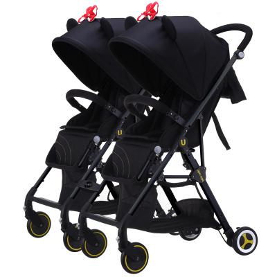 Recién nacido bebé trolley gemelos de alta paisaje puede acostarse puede combinarse con los gemelos bebé cochecito carritos