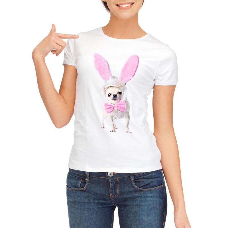 Summer Tops 2017 Funny Pug Print Women T-Shirt Female White Camisetas Tops Loose T Shirt Chihuahua dog Tee Shirt Femme Tshirt