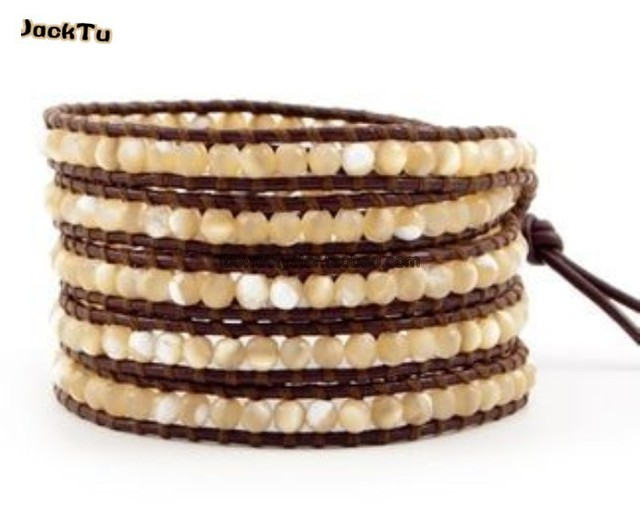 2017  hot brown mother of pearl handmade accessories bracelet brown leather